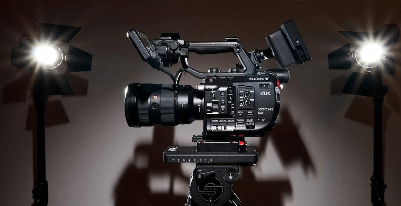 Sony FS5 video camera sitting on tripod
